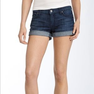 7 For All Mankind Roll Hem Stretch Denim Shorts